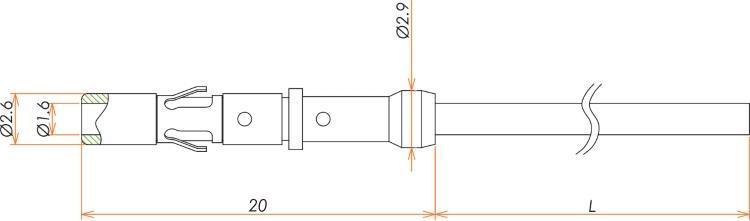 接続部品 大気側 ビニール被覆ケーブル付き ソケットコンタクト L=1000 寸法画像